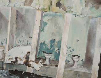 """Bathroom   Oil on Canvas   8"""" x 10"""""""
