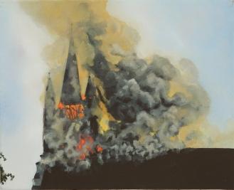 "Burning Church   Oil on Canvas   8"" x 10"""