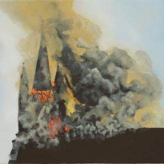 "Burning Church | Oil on Canvas | 8"" x 10"""