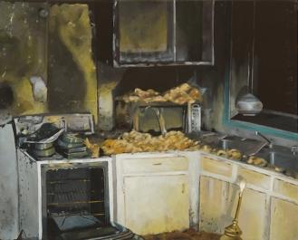 """Kitchen   Oil on Canvas   8"""" x 10"""""""