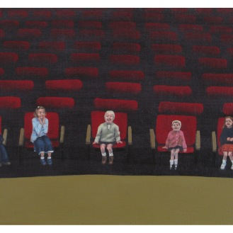 "Children in the Audience of the Dramatic Reading of the Autobiography of X | Oil on Canvas | 8"" x 10"""