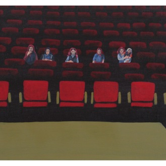 "The Matriarchs in the Audience of the Dramatic Reading of the Autobiography of X | Oil on Canvas | 8"" x 10"""